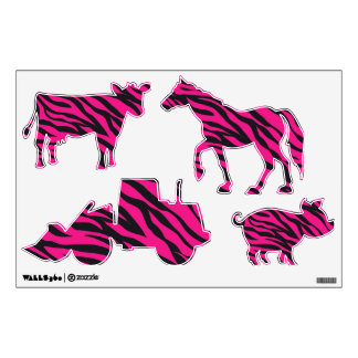 Hot Pink Zebra Stripes Wall Decals Wall Stickers Zazzle - Zebra stripe wall decals