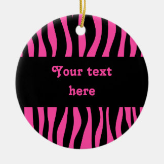Hot pink zebra stripes add your text ornament
