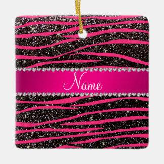 Hot pink zebra stripes black glitter pink stripe ceramic ornament