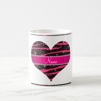 Hot pink zebra stripes black glitter pink stripe classic white coffee mug
