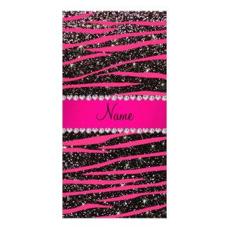 Hot pink zebra stripes black glitter pink stripe personalized photo card