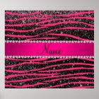Hot pink zebra stripes black glitter pink stripe poster