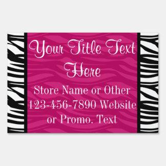 Hot Pink Zebra Stripes Boutique or Sale Signs