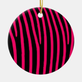 Hot Pink Zebra Stripes Ceramic Ornament