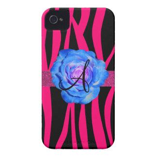 Hot pink zebra stripes monogram blue rose Case-Mate iPhone 4 case