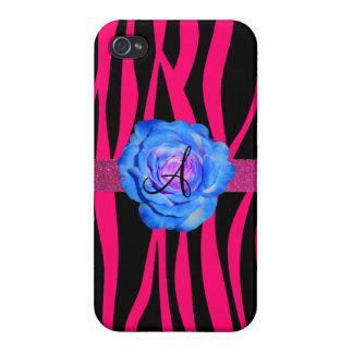 Hot pink zebra stripes monogram blue rose case for iPhone 4