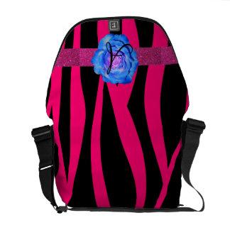 Hot pink zebra stripes monogram blue rose messenger bag