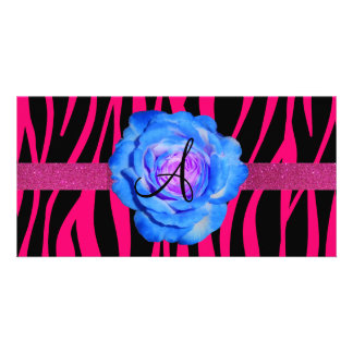 Hot pink zebra stripes monogram blue rose photo card