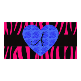 Hot pink zebra stripes monogram blue roses photo card