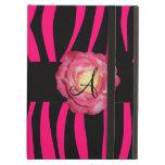 Hot pink zebra stripes monogram pink rose iPad cases