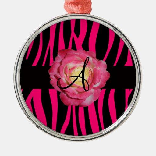 Hot pink zebra stripes monogram pink rose ornaments
