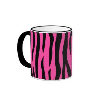 Hot pink zebra stripes ringer coffee mug