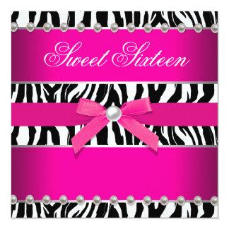 Hot Pink Zebra Sweet 16 Birthday Party Card