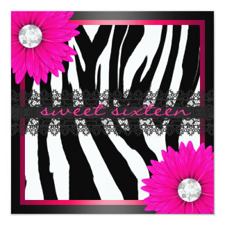 Hot Pink Zebra Sweet Sixteen Card