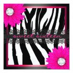 Hot Pink Zebra Sweet Sixteen Personalized Announcement