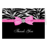 Hot Pink Zebra Thank You Cards Note Card