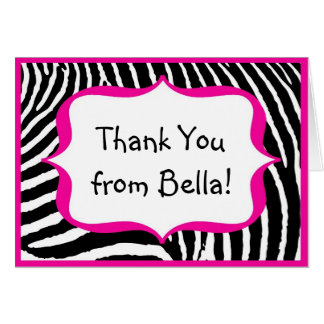 Hot Pink Zebra Thank You Note Card
