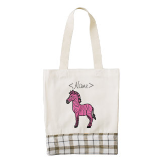 Hot Pink Zebra with Black Stripes Zazzle HEART Tote Bag