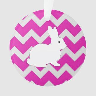 Hot Pink Zig Zag Chevron With White Bunny Ornament