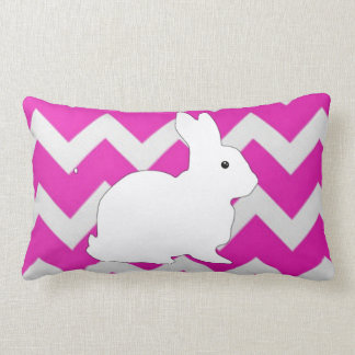 Hot Pink Zig Zag Chevron With White Bunny Pillows