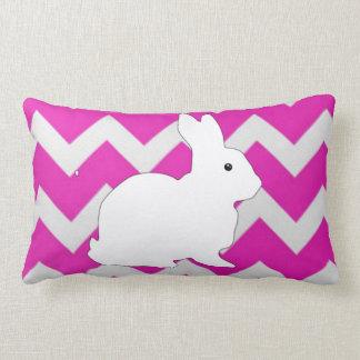 Hot Pink Zig Zag Chevron With White Bunny Throw Pillow