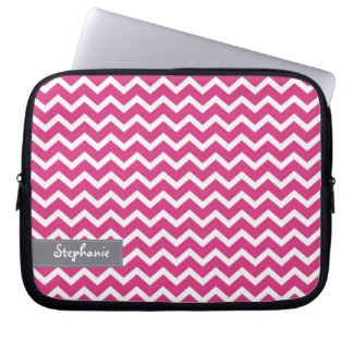 Hot Pink Zig Zag Chevrons Pattern Computer Sleeve
