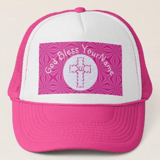 Hot Pink Zig Zag Christian Cross White Bright Pink Trucker Hat