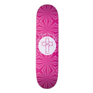 Hot Pink Zig-Zag Christian Cross White Skateboard