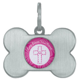 Hot Pink Zig Zag Cross With Name White Pet Name Tag