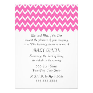 Hot Pink Zigzag Pattern Personalized Invites