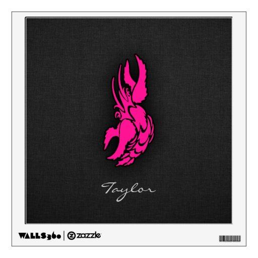 Hot Pink Zodiac Cancer Sign Wall Skin | Zazzle