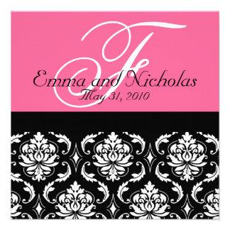 Hot PinkWedding Invitation Monogram Damask Back 4