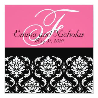 Hot PinkWedding Invitation Monogram Damask Back #4