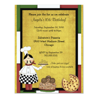 """Hot Pizza Chef Party Invitation 4.25"""" X 5.5"""" Invitation Card"""