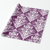 Hot Purple and White Elegant Damask Pattern Wrapping Paper