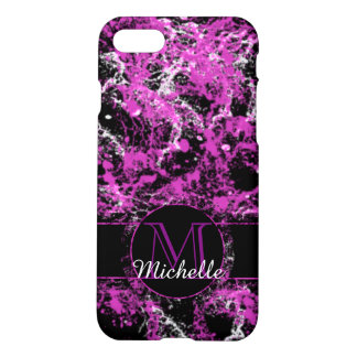 Hot Purple Marbled Custom Monogram Phone Case