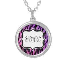 Hot Purple/Pink Zebra Monogram Silver Plated Necklace at Zazzle