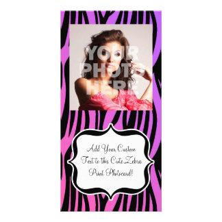 Hot Purple/Pink Zebra Stripes Monogram Card
