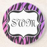 Hot Purple/Pink Zebra Stripes Monogram Beverage Coaster