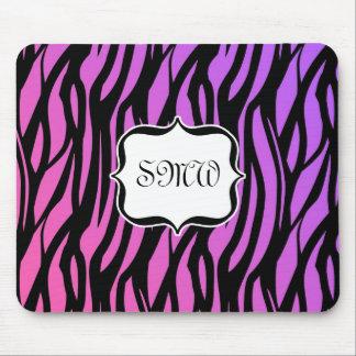 Hot Purple/Pink Zebra Stripes Monogram Mouse Pad