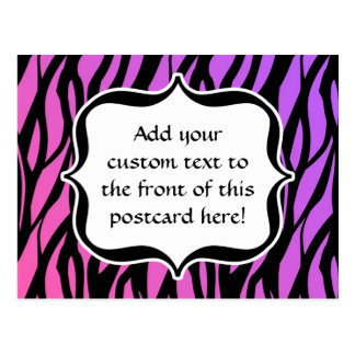 Hot Purple/Pink Zebra Stripes Monogram Postcard
