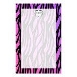 Hot Purple/Pink Zebra Stripes Monogram Custom Stationery