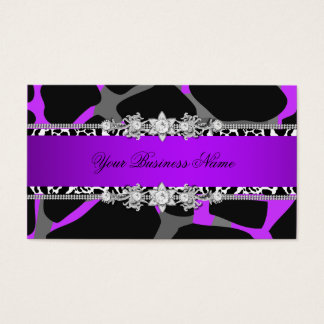 Hot Purple Wild Animal Black Jewel Look Image Business Card