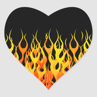 Hot Racing Flames Graphic Heart Sticker