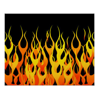Hot Racing Flames Graphic Poster