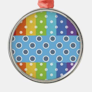 Hot Rainbow Polka Dots Colorful Stripes Metal Ornament