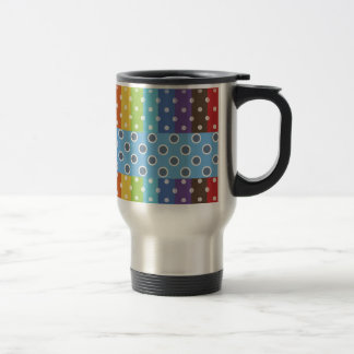 Hot Rainbow Polka Dots Colorful Stripes 15 Oz Stainless Steel Travel Mug