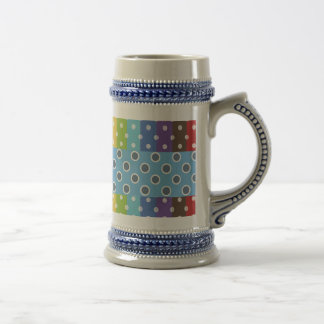 Hot Rainbow Polka Dots Colorful Stripes 18 Oz Beer Stein