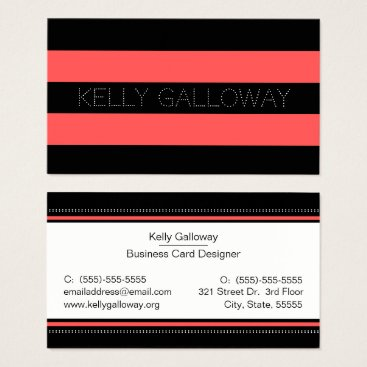 Beach Themed Hot Red & Black Bold Stripes Business Card
