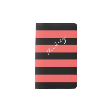 Beach Themed Hot Red & Black Stripe Custom Pocket Notebook